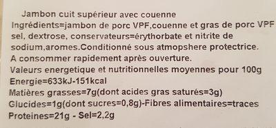 Jambon supérieur avec couenne - Ingrediënten - fr