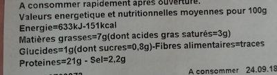 Jambon supérieur avec couenne - Voedingswaarden - fr