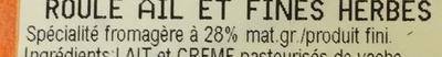 Roulé Ail et Fines herbes (28% MG) - Nutrition facts - fr