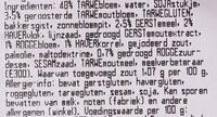 Meergranenbrood, half - Ingrediënten - nl