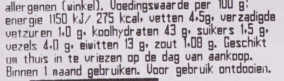 Meergranenbrood, half - Voedingswaarden - nl