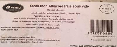 Steak de thon albacore frais sous vide - Product - fr