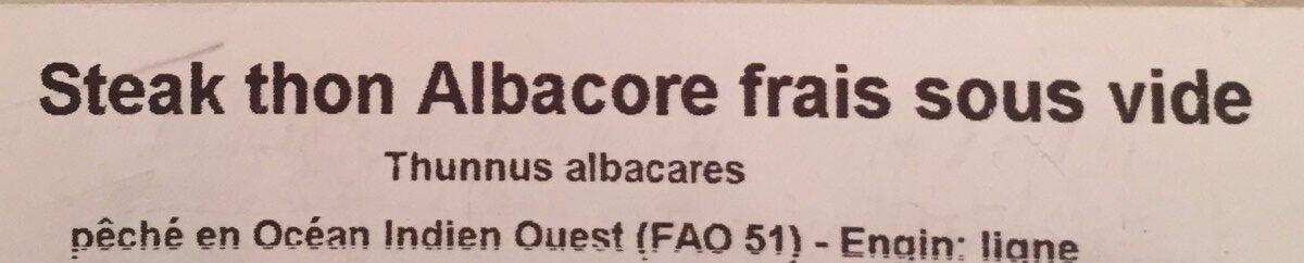 Steak de thon albacore frais sous vide - Ingrediënten - fr