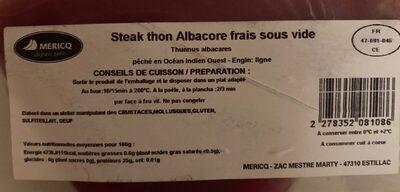 Steack thon Albacore frais sous vide - Ingrediënten - fr