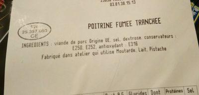 Poitrine fumée tranchée - Ingrédients - fr