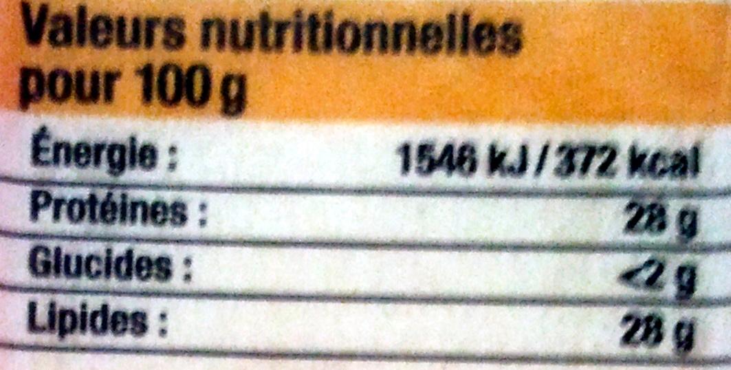 Emmental (28 % MG) - Informations nutritionnelles - fr