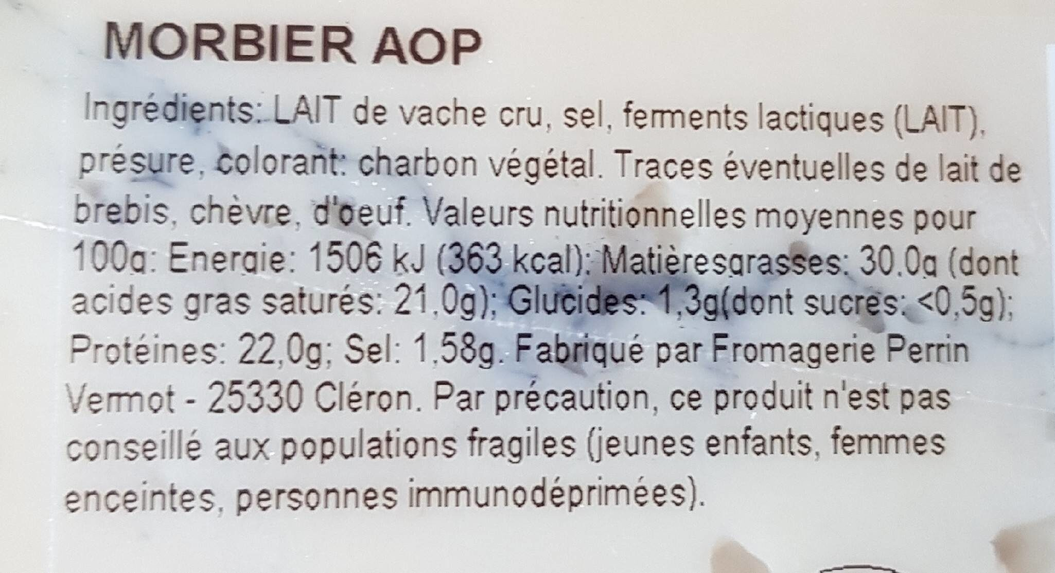 FROMAGE MORBIER - Informations nutritionnelles - fr
