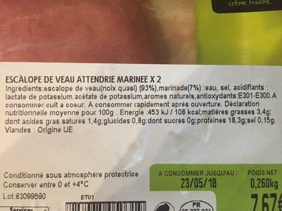 Escalope de veau - Ingrediënten - fr