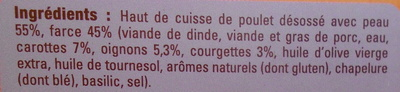 Fondants de poulet farcis aux petits légumes - Ingrediënten