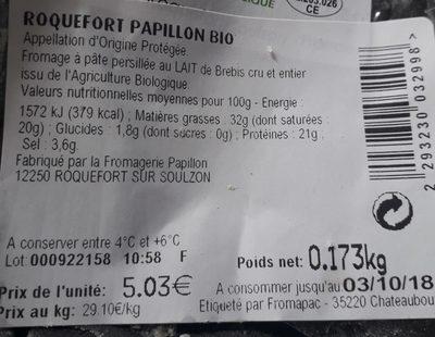 Roquefort - Ingrédients