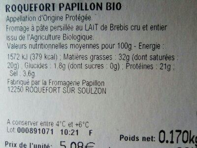 Roquefort papillon - Ingrédients