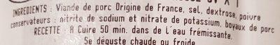 Saucisse de Morteau IGP Label Rouge - Ingrédients - fr