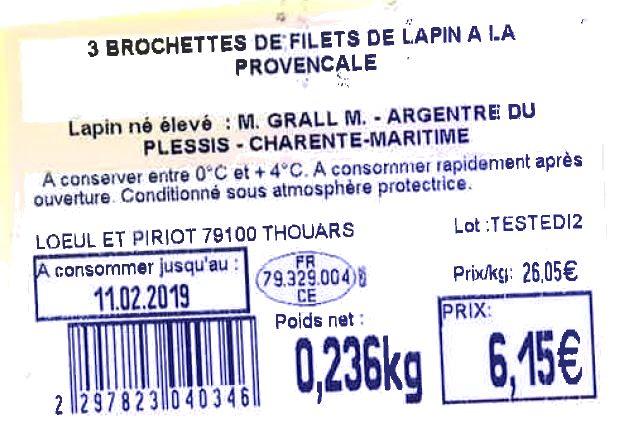 3 Brochettes de filets de lapin à la provençale - Ingredients