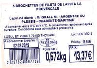 5 Brochettes de filets de lapin à la provençale - Ingredients