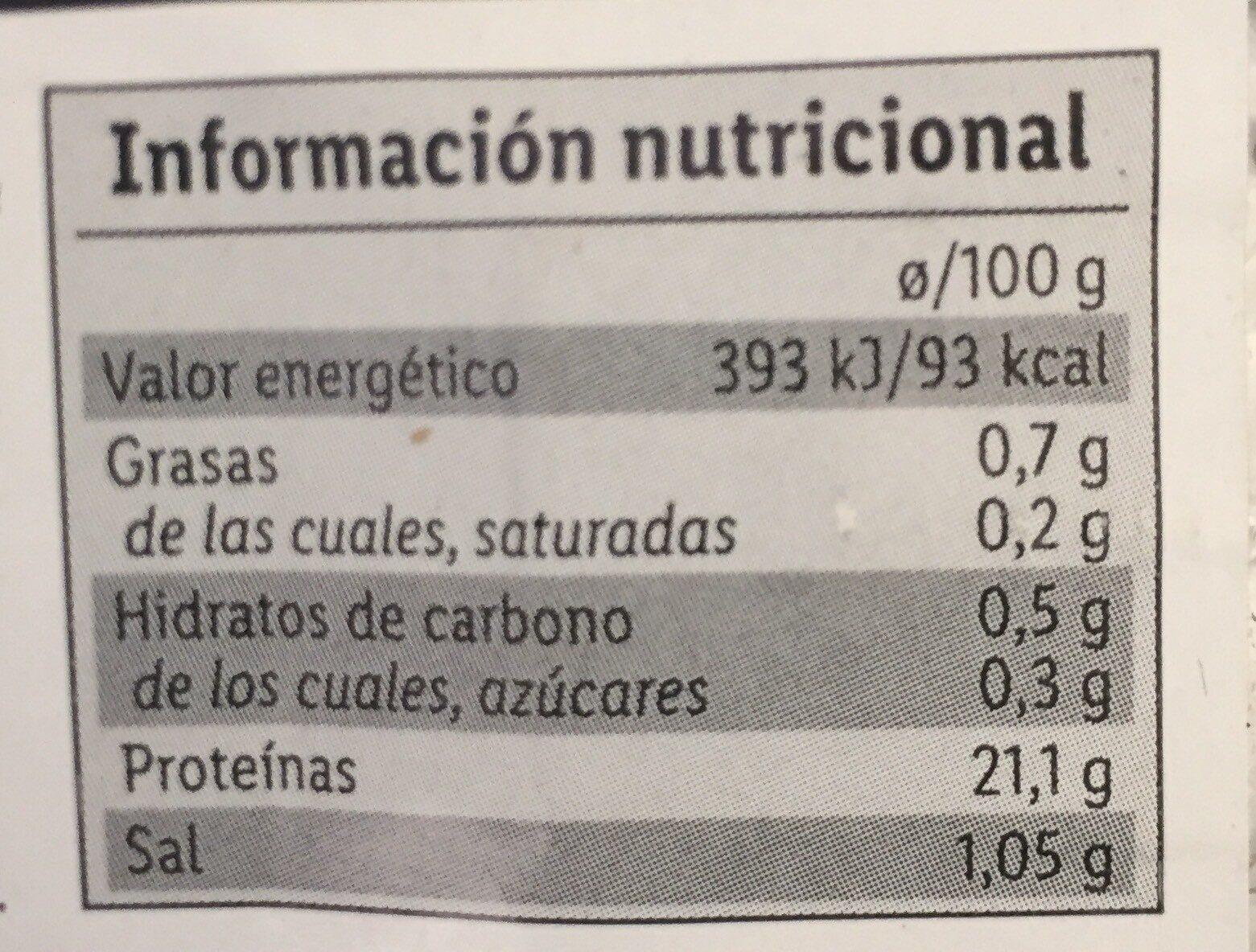 Cintas marinadas de pechuga de pavo - Información nutricional - es