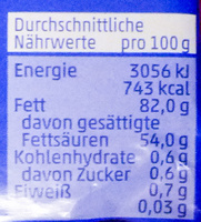 Deutsche Markenbutter mild gesäuert - Nährwertangaben - de