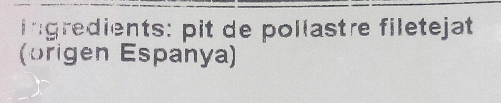 Filet de pollastre - Ingredients