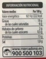 Longaniza fresca - Informations nutritionnelles - es