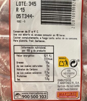 Longaniza magro fresca - Nutrition facts
