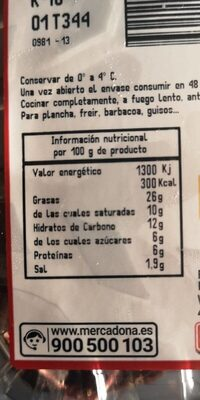 Morcilla cebolla oreada - Nutrition facts