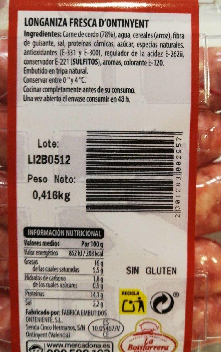 Longaniza Fresca D'Ontinyent - Nutrition facts