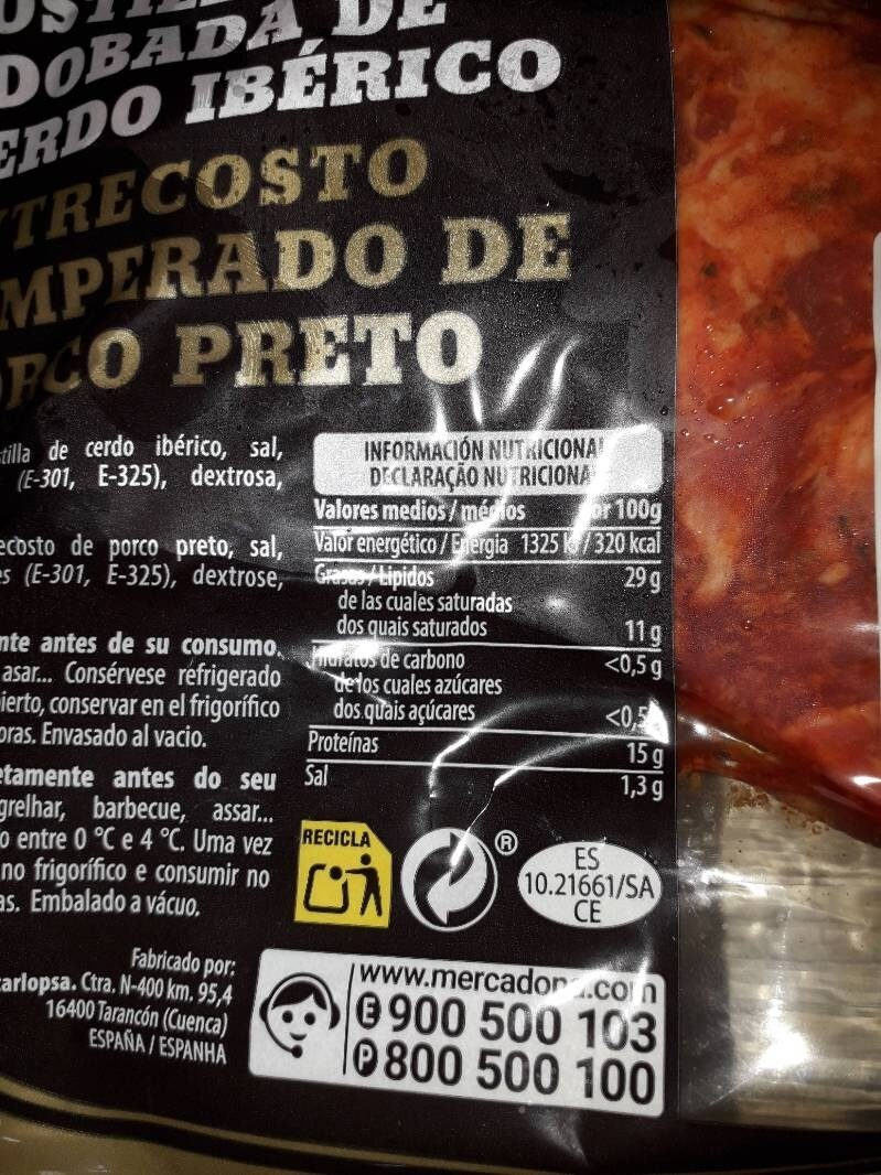 Costilla adobada de cerdo iberico - Nutrition facts