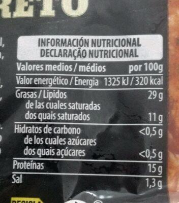 Costilla adobada ibérica - Informations nutritionnelles - es