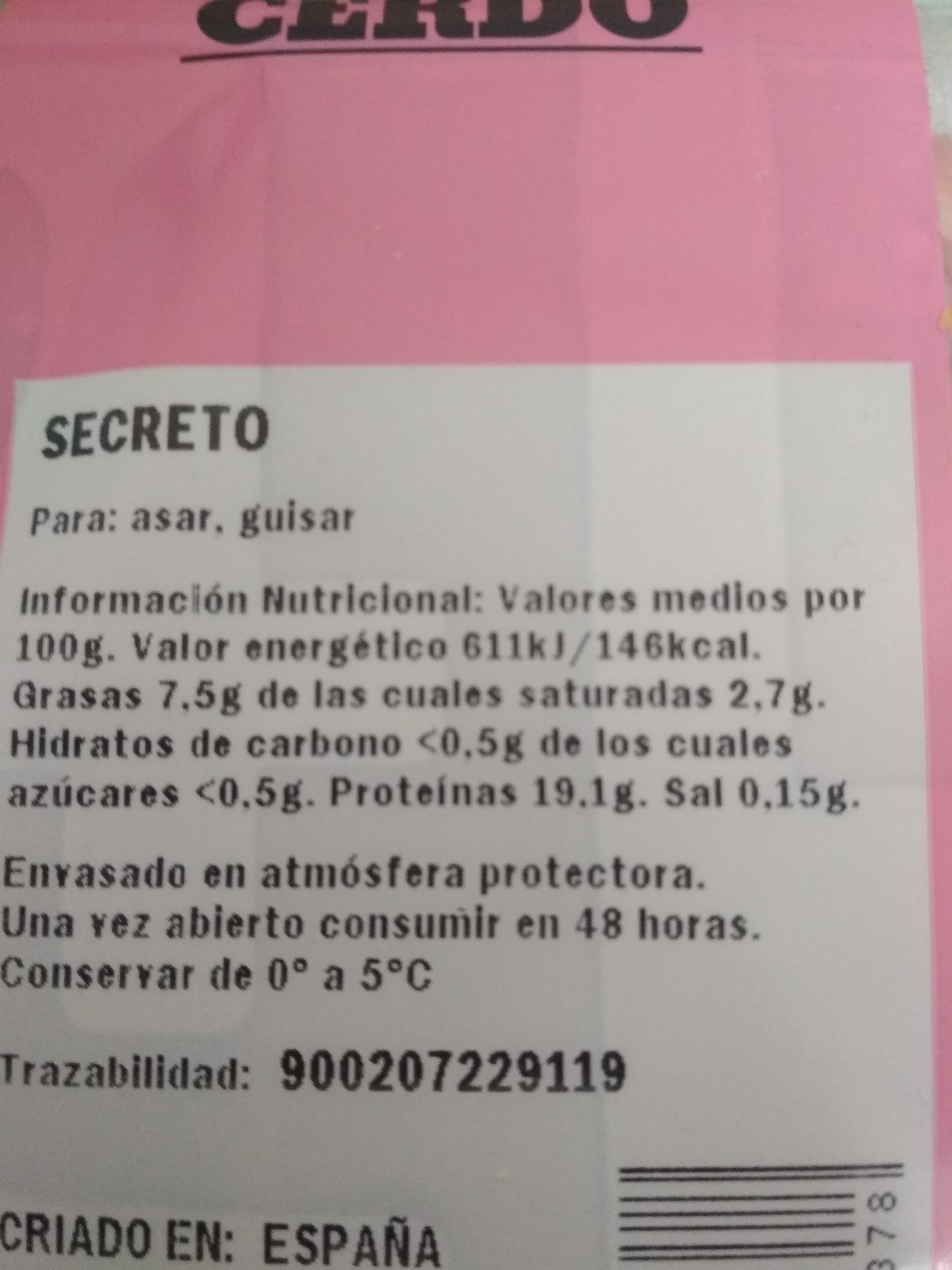 Secreto - Nutrition facts