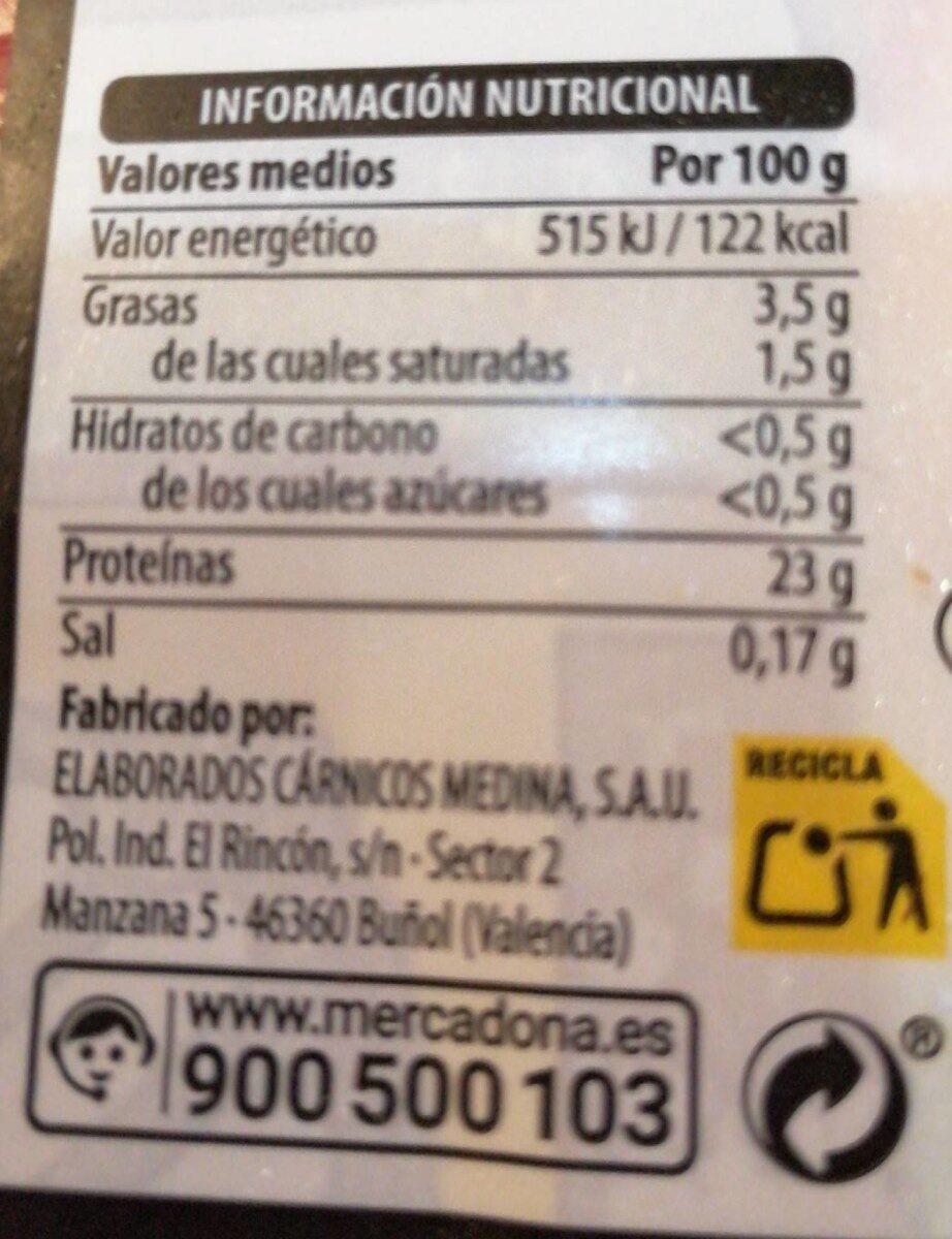Vacuno Filete primera A - Información nutricional