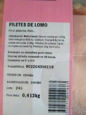 Cerdo Filetes de lomo - Información nutricional - es