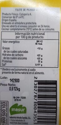 Filetes de pollo - Informations nutritionnelles - es
