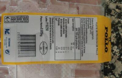 Filete de pechuga - Nutrition facts