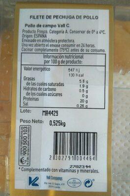 Filete de pechuga - Información nutricional - es