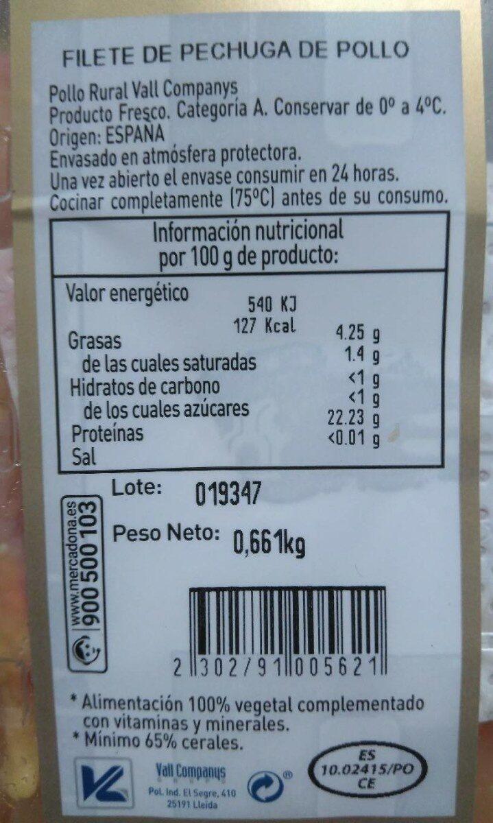 Filete de pechuga pollo rural - Nutrition facts
