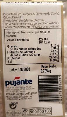 Pollo de campo - filete de pechuga - Información nutricional
