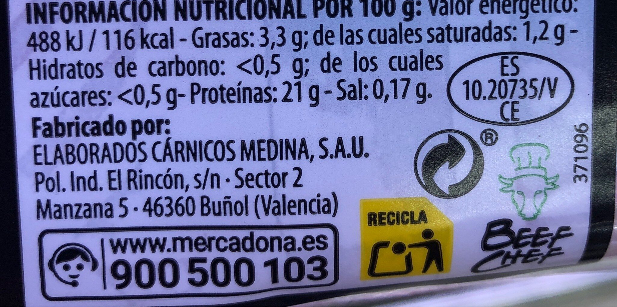 Solomillo - Nutrition facts