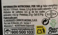 Vacuno a tacos - Informations nutritionnelles - es