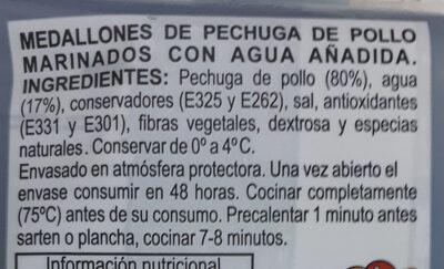Pechuga marinada - Inhaltsstoffe - es
