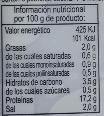 Pechuga marinada - Nährwertangaben - es