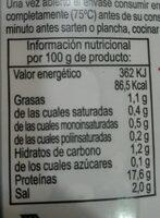 Pechuga de pollo finas hierbas marinada - Información nutricional - es