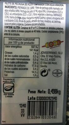 Pechuga empanada - Nutrition facts