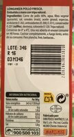 Longaniza pollo fresca - Nutrition facts