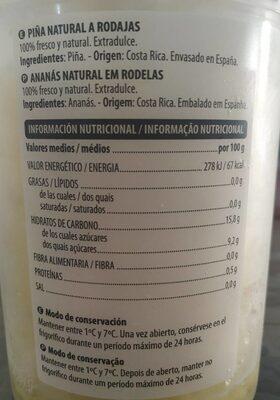 Piña natural a rodajas - Nutrition facts - es