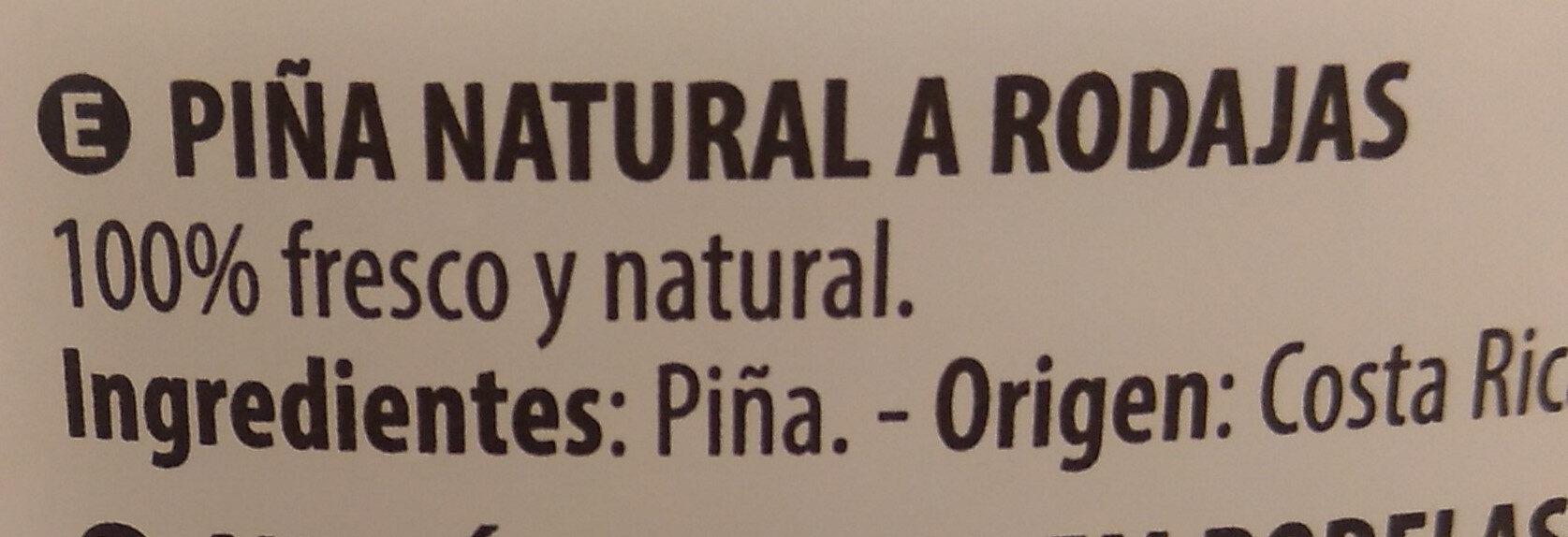 Piña en rodajas - Ingredientes - es