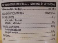 Piña en rodajas - Información nutricional - es