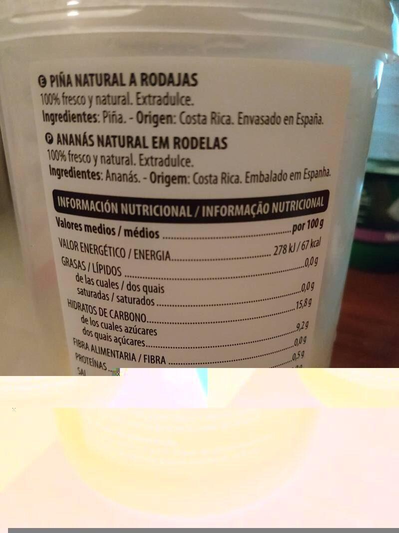 Piña natural a rodajas - Informations nutritionnelles - es