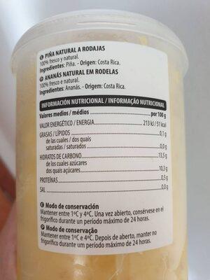 Piña natural a rodajas - Nutrition facts