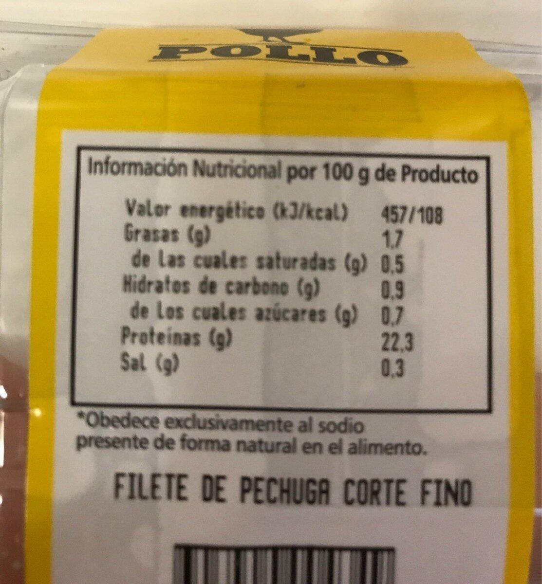 Pechuga de Pollo corte fino - Informations nutritionnelles - es