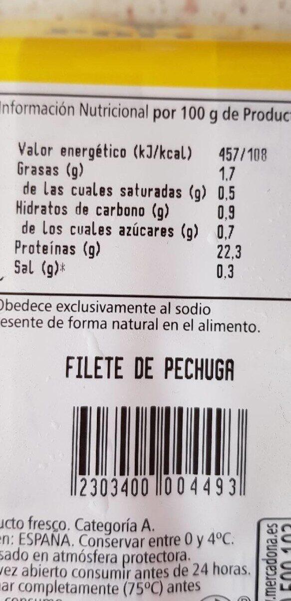 Filete de pechuga - Informations nutritionnelles - es