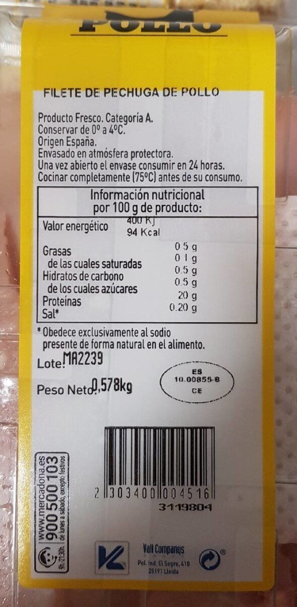 Filete de pechuga corte fino - Nutrition facts - es